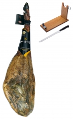 Jambon pata negra ibérique nourri de glands Don Agustin Qualité Supérieure entier + porte jambon + couteau