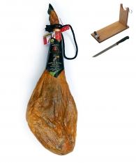 Jambon pata negra ibérique nourri de glands avec AOC de Guijuelo Revisan + porte jambon + couteau