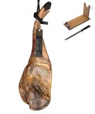 Jambon pata negra ibérique (Épaule) 100% pur nourri de glands Gran Reserva Arturo Sánchez + support à jambon + couteau