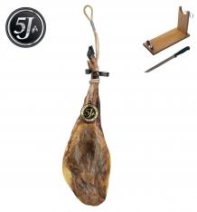 Jambon pata negra 100% ibérique nourri de glands Cinco Jotas - 5J entier + porte jambon + couteau
